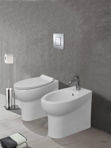 KIT VASO E BIDET A TERRA CON COPRIVASO SOFT-CLOSE SERIE ICEBERG PLUS