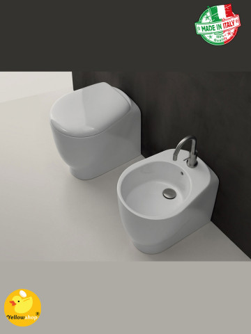Sanitari a terra filomuro Axa serie Normal wc, bidet e coprivaso Made in Italy